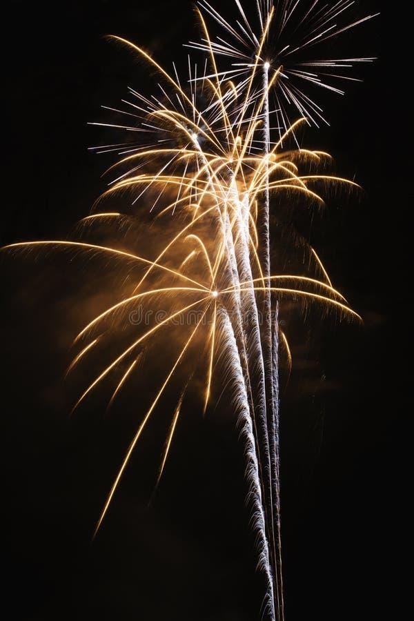 Fuegos artificiales en cielo nocturno. imagen de archivo