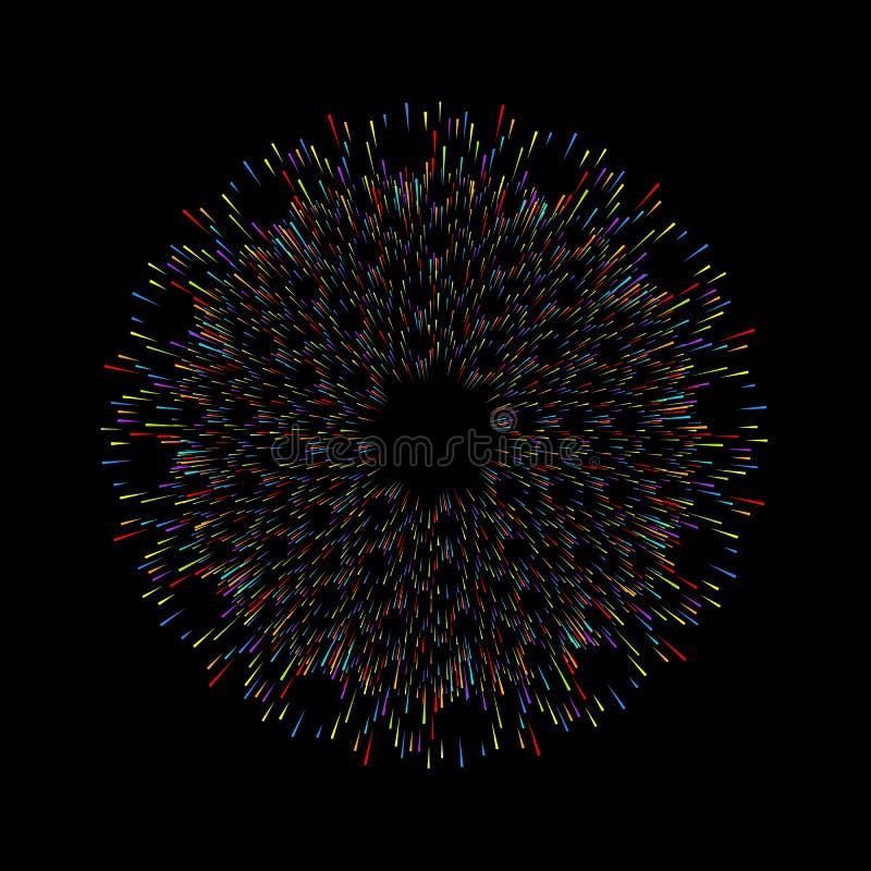 Fuegos artificiales en fondo oscuro Decoraciones de la tarjeta de felicitación de la Navidad, Feliz Año Nuevo, aniversario, celeb libre illustration