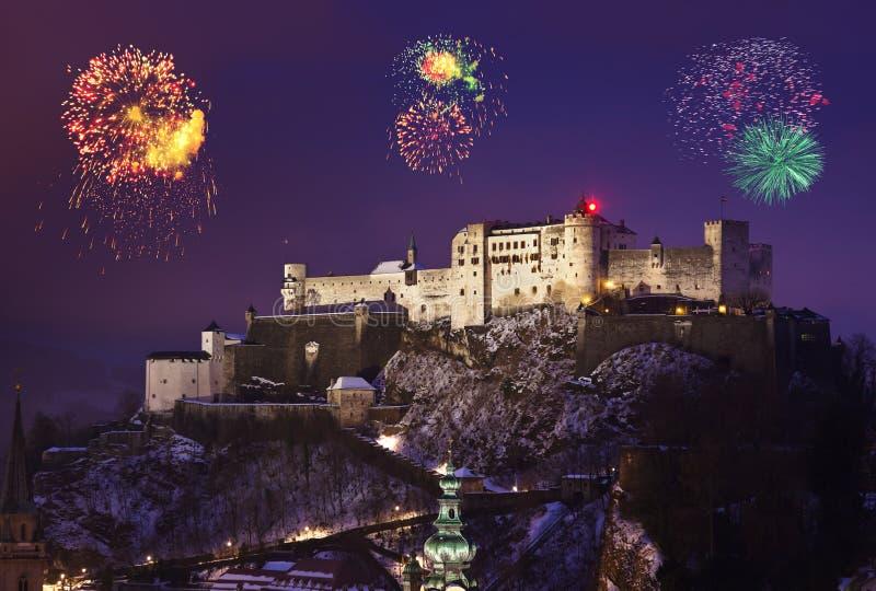 Fuegos artificiales en Salzburg Austria foto de archivo libre de regalías
