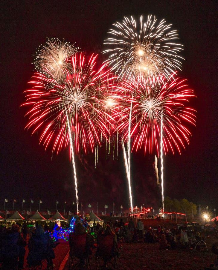 Fuegos artificiales, fiesta del globo de Albuquerque imágenes de archivo libres de regalías