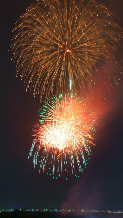Fuegos artificiales grandes de Nobi (Noubi) fetival foto de archivo libre de regalías