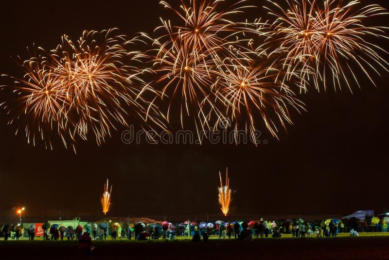 Fuegos artificiales hermosos foto de archivo