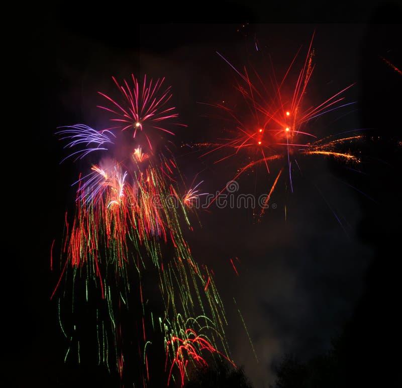 Fuegos artificiales hermosos de diversos tipos imagen de archivo