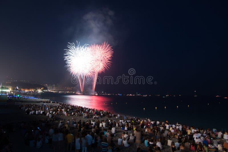 Fuegos artificiales, Niza, Francia fotos de archivo libres de regalías