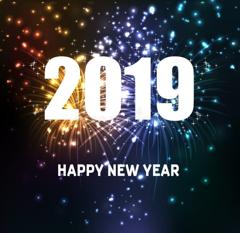 Fuegos artificiales por la Feliz Año Nuevo 2019 stock de ilustración