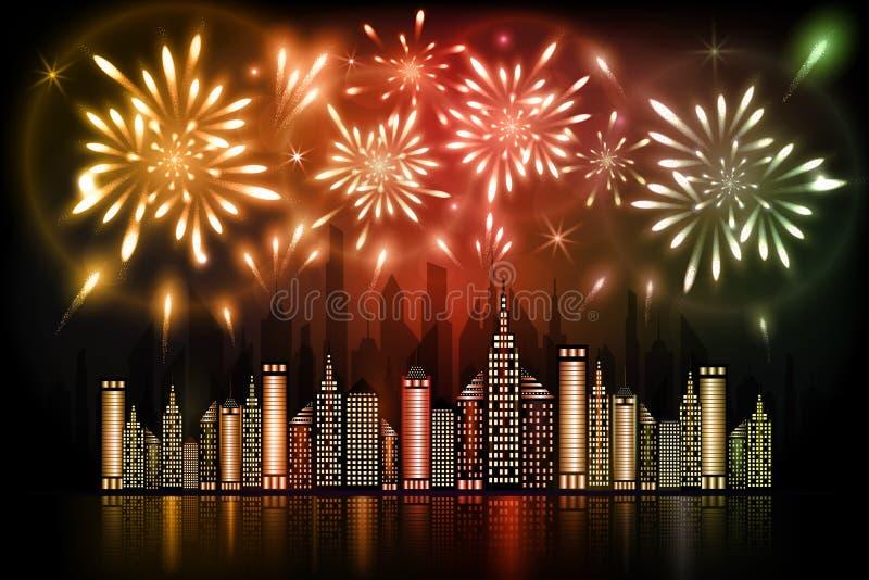 Fuegos artificiales que estallan en cielo nocturno sobre ciudad céntrica con la reflexión en agua en sombras anaranjadas, rojas y ilustración del vector