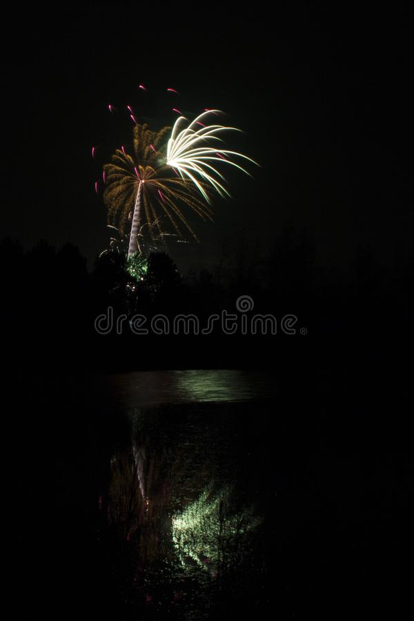 Fuegos artificiales que estallan sobre la charca del arbolado foto de archivo