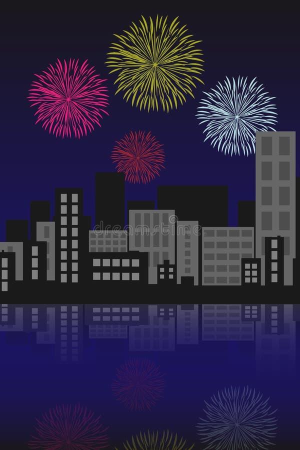 Fuegos artificiales sobre la ciudad ilustración del vector