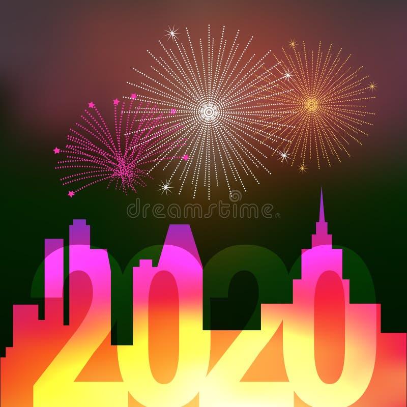 Fuegos artificiales sobre la ciudad de la noche Feliz Navidad y Feliz A?o Nuevo 2020 Ilustraci?n del vector ilustración del vector