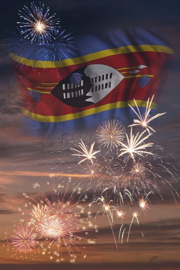 Fuegos artificiales y bandera de Swazilandia libre illustration
