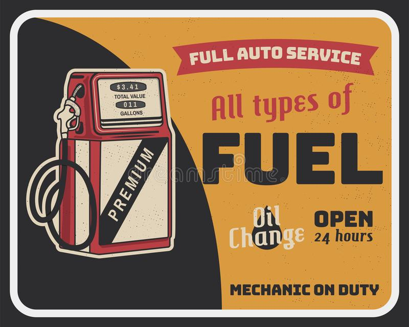 Fuel auto service vintage poster with retro gas pump and texts. Car service, parts and mechanic on duty, transport stock illustration
