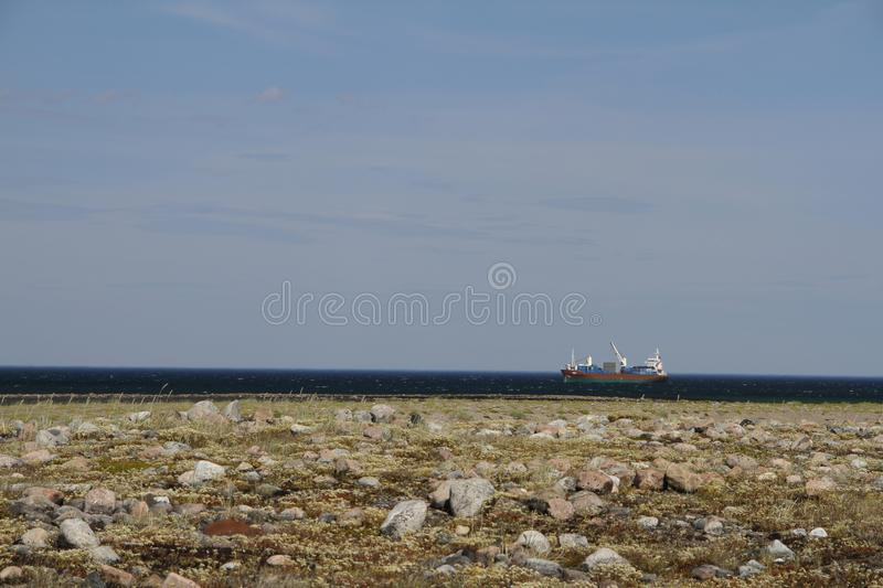 Fuel barge off the coast of Hudson Bay, near Arviat. Nunavut royalty free stock photography