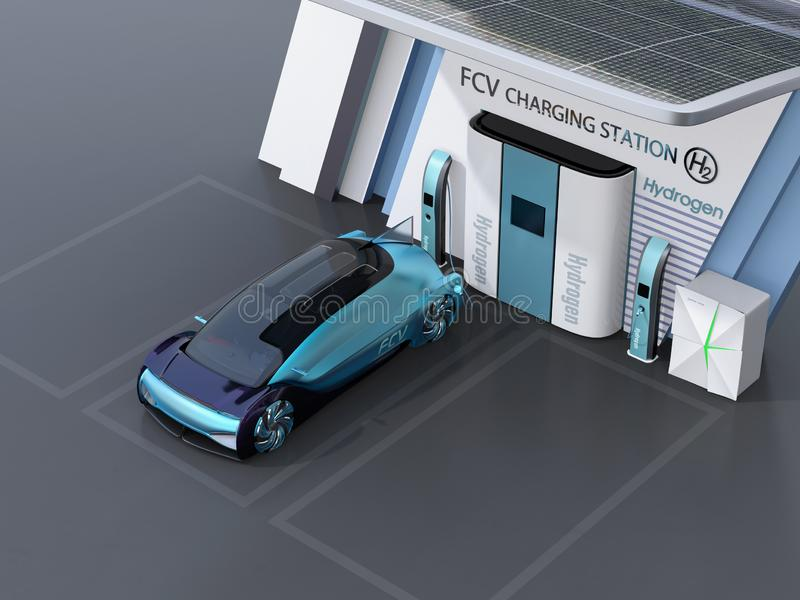 Fuel Cell powered autonomous car filling gas in Fuel Cell Hydrogen Station stock photo
