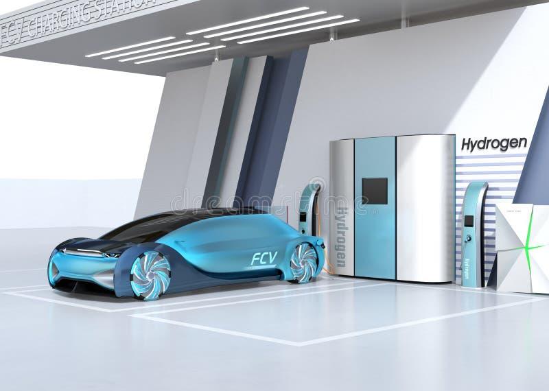 Fuel Cell zasila? autonomicznego samochodowego podsadzkowego gaz w Fuel Cell wod?r stacji ilustracji