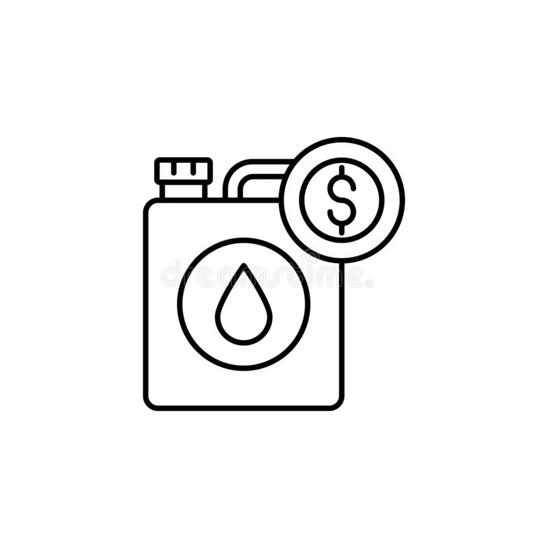 Fuel, dollar icon. Simple thin line, outline vector of Saving money icons for UI and UX, website or mobile application. On white background stock illustration