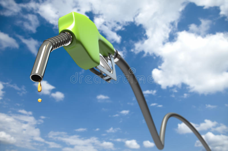 Fuel dripping out of a green fuel nozzle vector illustration
