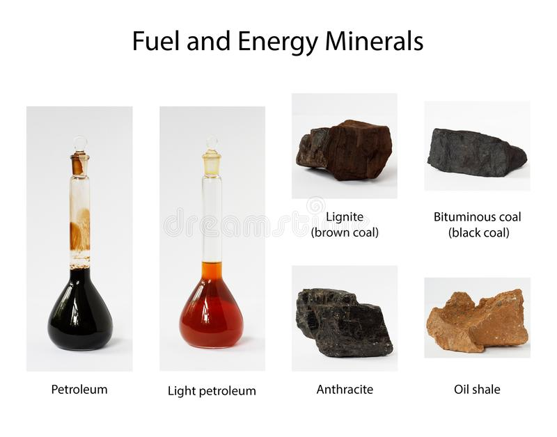 Fuel and energy minerals on white background stock image
