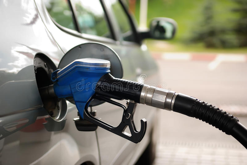 Fuel filling at gas station royalty free stock photography