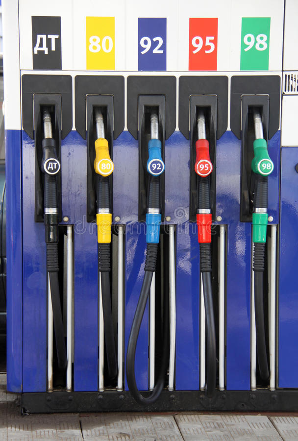 Fuel filling station. Fuel pumps in a gas station stock photography