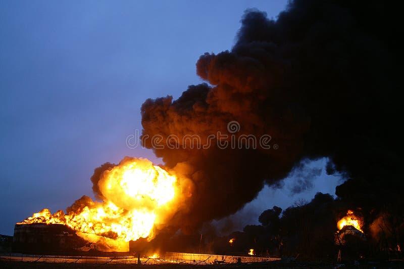 Buncefield Terminal explosion. Fuel storage unit fire and explosion, Buncefield Terminal royalty free stock photo