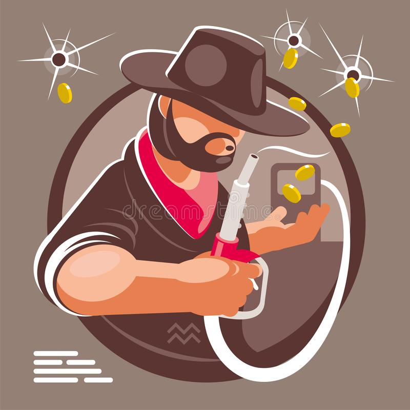 The fuel gangster profits on fuel price vector illustration