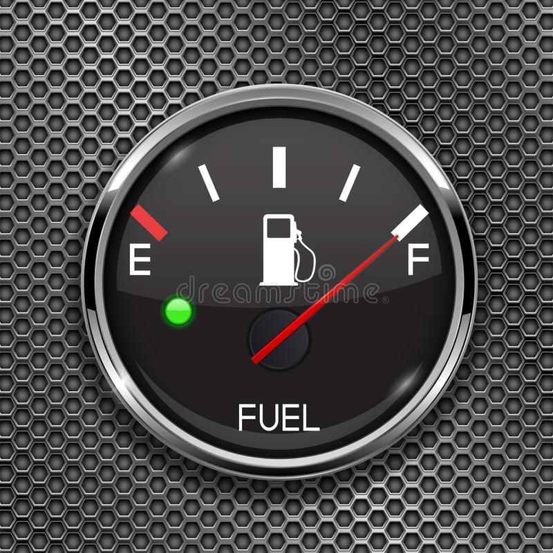 Fuel gauge. Full tank. Round black car dashboard 3d device on metal perforated background royalty free illustration