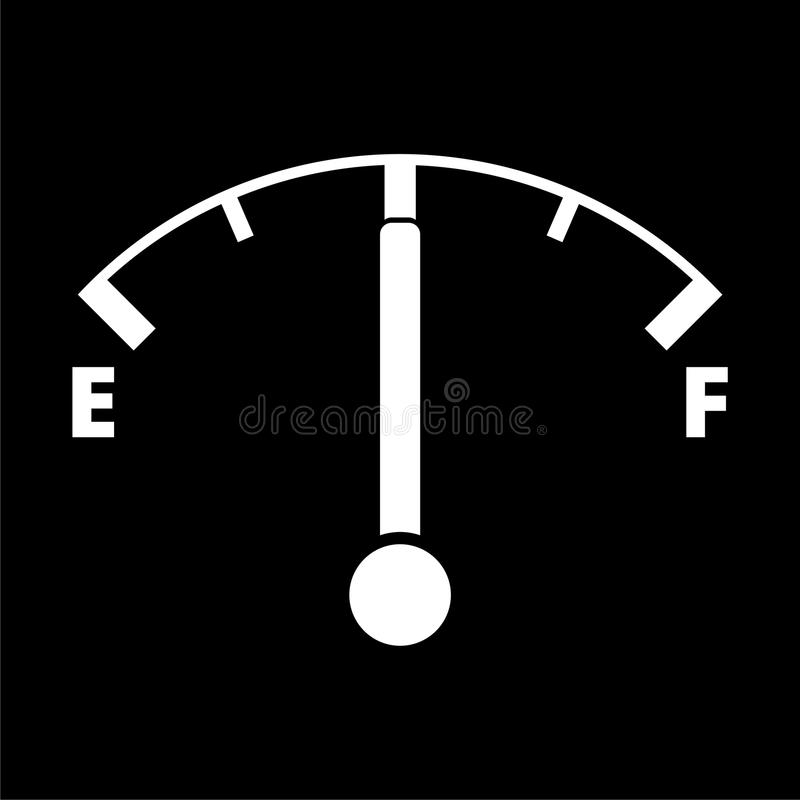 Fuel gauge icon, Full gas tank on dark background stock illustration