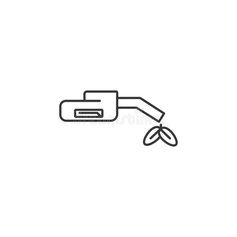 Fuel gun with plant icon. Simple outline  of Sustainable Energy set icons for UI and UX, website or mobile application. On white background royalty free illustration