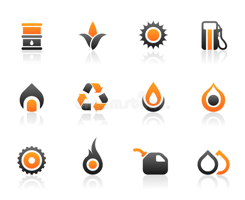 Fuel icons and graphics. Set of 12 fuel environmental icons and graphics stock illustration