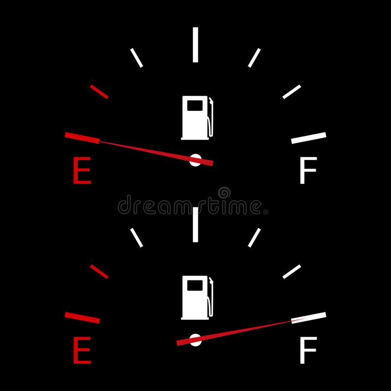 Fuel indicator empty and full gauge on black background. Panel in automobile with sign fuel pump. EPS 10 vector illustration