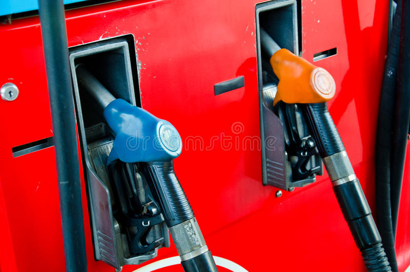 Fuel nozzles. Fuel nozzles for fuel in fuel pumps royalty free stock images