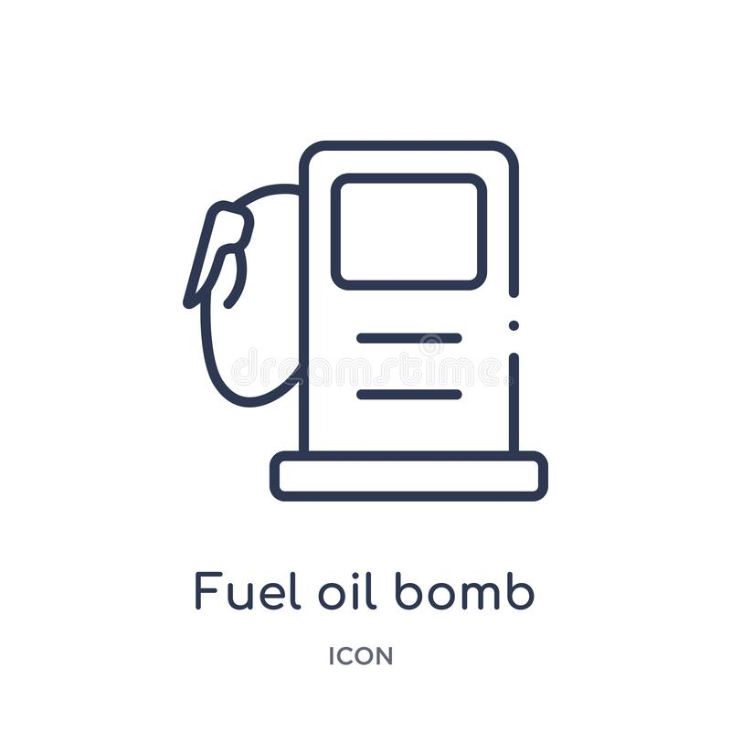fuel oil bomb service icon from tools and utensils outline collection. Thin line fuel oil bomb service icon isolated on white stock illustration