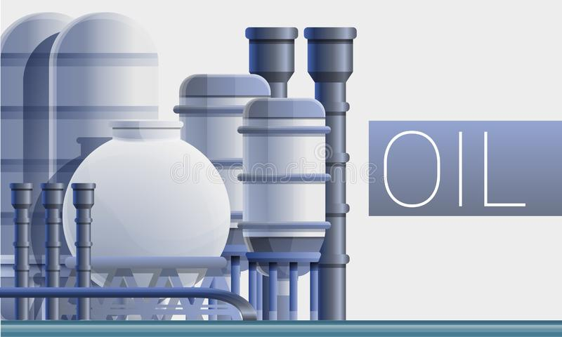 Fuel oil refinery concept banner, cartoon style vector illustration