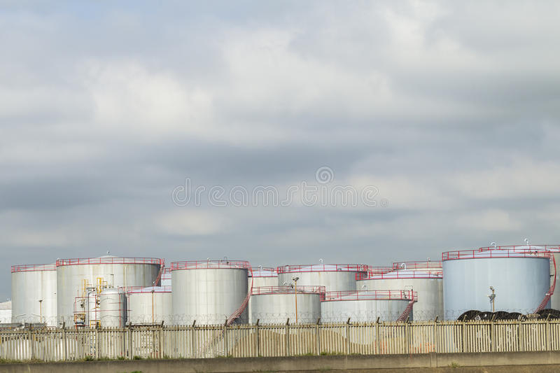 Fuel Oil Storage Tanks. At Refinery from production royalty free stock image