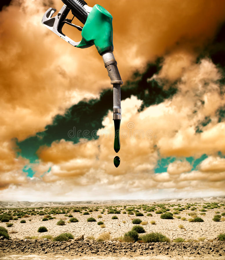 Fuel and pollution. Desertification and pollution caused by petrol royalty free stock images