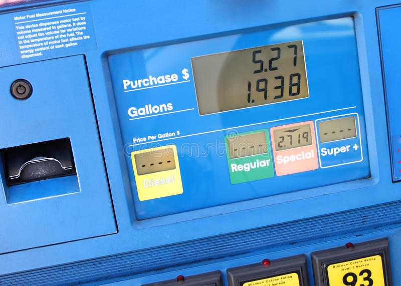 Fuel pump at gas station stock images