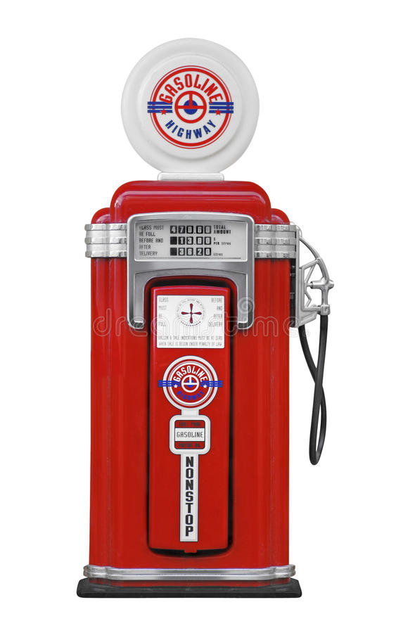 Fuel pump on white. Vintage red gasoline pump on white royalty free stock photography