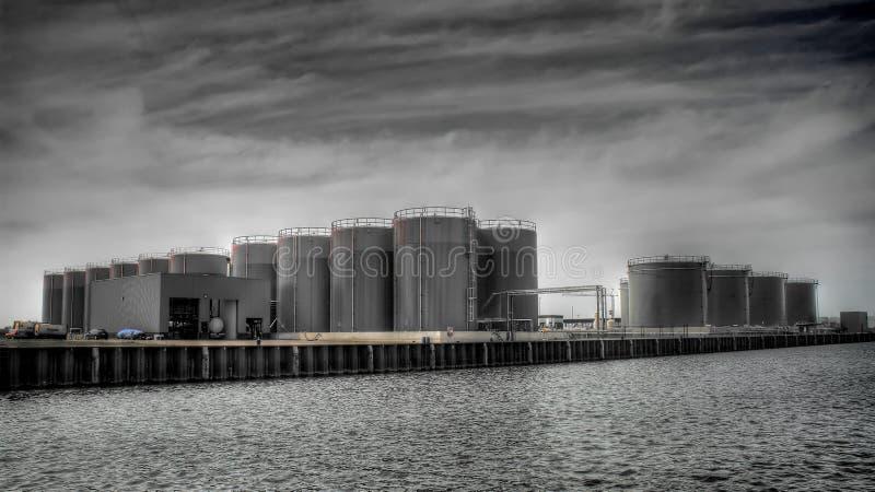 Fuel silos on docks