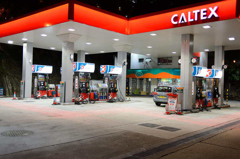 Fuel station at evening  editorial stock photo  Image of