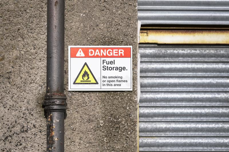Fuel storage oil and gas flammable danger sign. Uk royalty free stock photo
