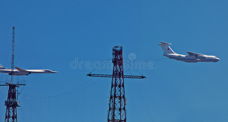 Fuel taker, strategic bomber. On air parade royalty free stock photo
