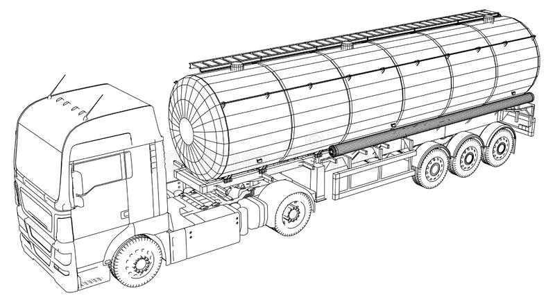 Fuel Tanker Truck. Tracing illustration of 3d. EPS 10 vector format. royalty free illustration
