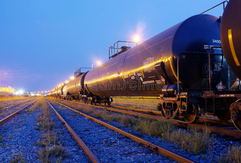 Fuel Train. A Fuel Train at night royalty free stock image