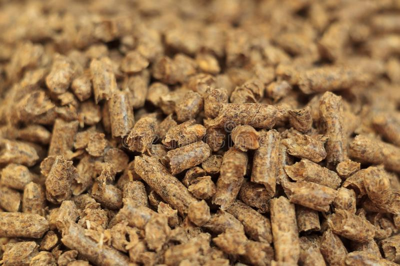 Fuel wood pellet close-up. A source of alternative clean energy. A lot of pellet. Natural fuel and energy of future royalty free stock photo