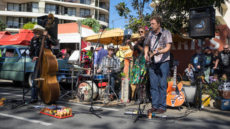 The Fuelers music band. The Fuelers rockabilly music band performing a street entertainment during the celebration of the 2015 Cooly Rocks On festival in stock image