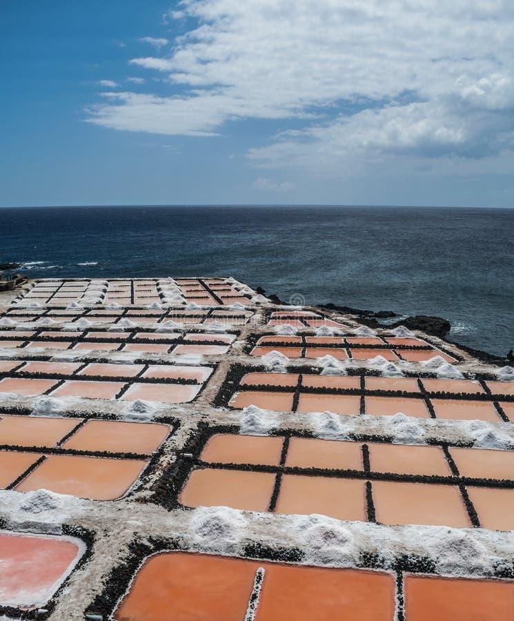 Fuencaliente saltworks, La Palma, kanariefågelöar arkivbild