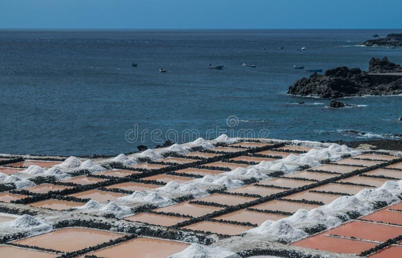 Fuencaliente saltworks, La Palma, kanariefågelöar arkivfoton