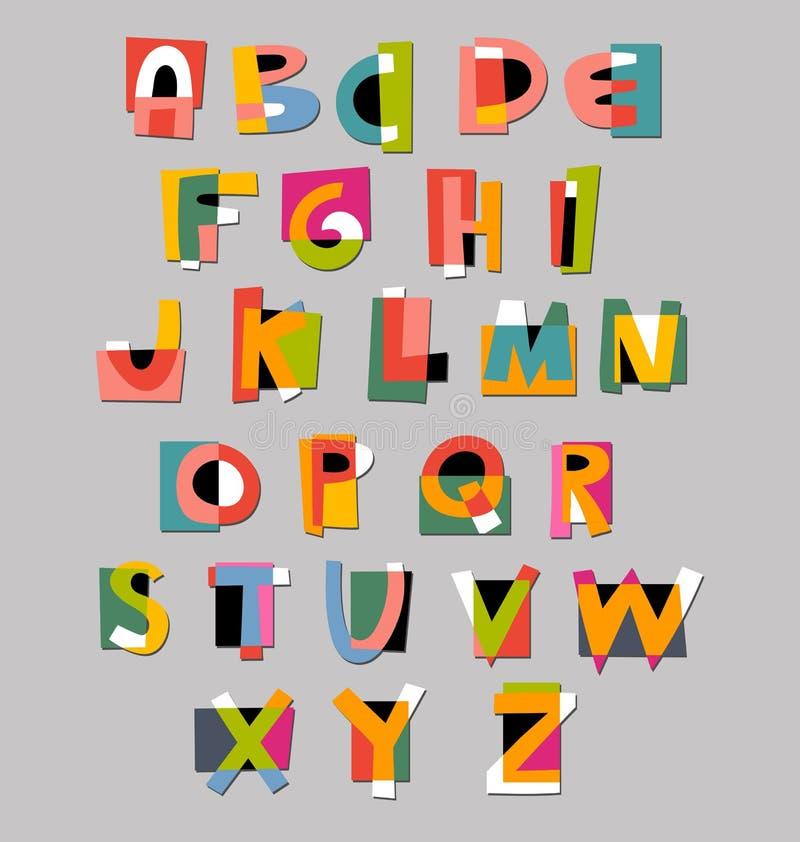 Fuente abstracta del alfabeto Estilo de papel del recorte stock de ilustración