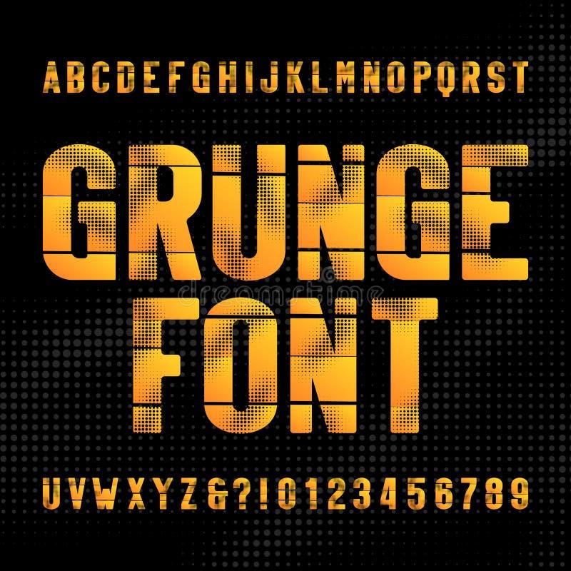 Fuente abstracta del alfabeto del grunge Letras mayúsculas y números apenados en el fondo de semitono libre illustration