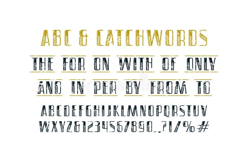 Fuente adornada y lemas de sans serif ilustración del vector